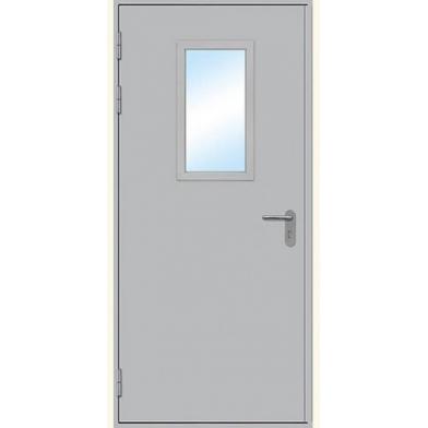Дверь техническая остекленная одностворчатая, левая (2080х880) с наличником
