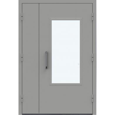 Тамбурные двери двухстворчатые остекленные армированным стеклом размер  2000*1230
