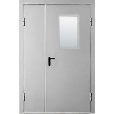 Тамбурные двери двухстворчатые остекленные стеклопакетом размер  2000*1230